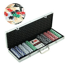 More details for professional 500 piece texas hold'em poker casino game chips cards set with box