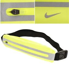 NIKE RUNNING BELT-Expandable-Reflective Taping-Zip Closure Fanny Pack-Volt/Blk
