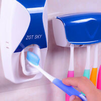 Automatic Toothpaste Squeezer Dispenser w/ 5 Wall Mount Toothbrush Holders Set