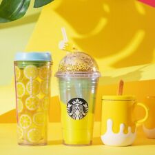 2020 Starbucks Summer Yellow Glitter Dome Popsicle Straw Topper Charm Cold Cup