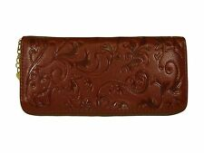 BROWN GENUINE LEATHER WALLET, Zipper, Multiple Compartments
