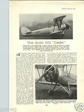 1932 PAPER AD Airplane 5 PG Article The Avro 631 Cadet Biplane Specs Drawings ++