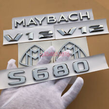 """Chrome ABS """" S680 + MAYBACH + V12 """"  Emblem Auto Front Badge for Mercedes-Benz S"""
