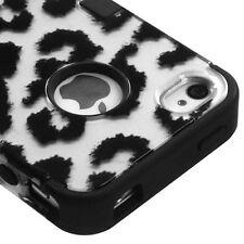 iPHONE 4 4G 4S -HARD&SOFT RUBBER DUAL HYBRID HIGH IMPACT CASE BLACK GREY LEOPARD