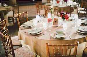 "10x Burlap Overlay 54"" × 54"" 100% Natural Jute Tablecloths Table Covers Wedding"