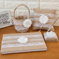 4pcs Rustic Burlap And Lace Wedding Guest Book Pen Garter Pillow Set JB
