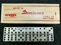DOUBLE SIX WOOD BOXED DOMINOES WITH SPINNING PINS PUB CLUB QUALITY