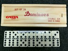 Dominoes Double Six Wood Boxed Dominoes with Spinning Pins Pub Club Quality.
