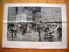 Incisione enorme - Nel 1885 a Roma - La Musica in Piazza Colonna