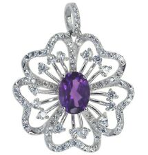 Amethyst Gemstone Sparkling Flower Sterling Silver Pendant + Chain