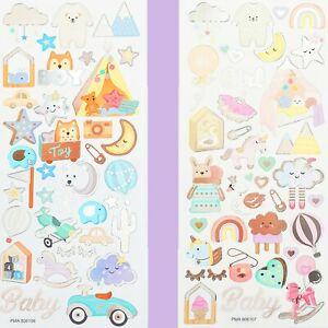 BOY/GIRL FOIL STICKERS Baby Kids Birthday Card Making Decorating Scrapbook Set
