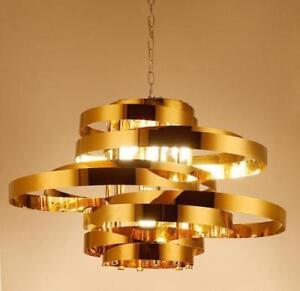 Gold Metal Rings Chandelier LED Ceiling Fixtures Bedroom Pendant Lamp Lighting