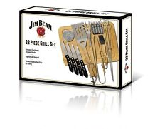 New Jim Beam 22-Piece Outdoor Bbq Deluxe Food Prep & Serve Grilling Set