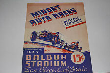 Midget Auto Races Program, San Diego Balboa Stadium, Nov 6 1946, Original