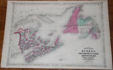 "Original 1869 Quebec Map  - Johnson's Atlas 26"" x 18"" large - Antique"
