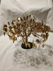 Mid-Century Gold Wire Brass Leaf Fantasy Dream Tree Vintage MCM Movable Twisted