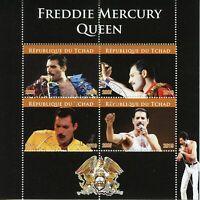 Chad Music Stamps 2019 CTO Freddie Mercury Queen Celebrities 4v M/S