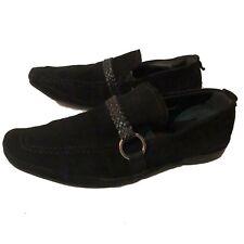 Studio Via Spiga Loafers Shoes Suede Black Woven Strap 7037 Men's Size 11 M 11M