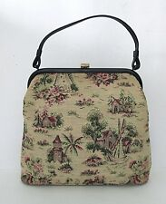 VGC Vtg 50s 60s J.R. Petit Point Tapestry Kelly Purse Handbag Country Scenes