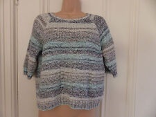 Fat Face size S/M grey white and green/blue mottled short sleeved cotton jumper