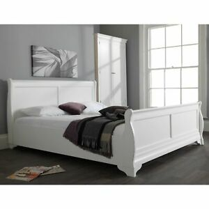 Jolie Oak White Painted Furniture King Size Sleigh Bed