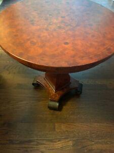 HENREDON END TABLE ~ BURLED VENEER WOOD ~ ROUND INLAY DESIGN TOP
