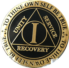 1 Year AA Medallion Black Gold Plated Alcoholics Anonymous Sobriety Chip Coin
