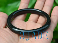 53mm - 61mm Natural Black Nephrite Jade Flat Bangle Bracelet Certified Jade