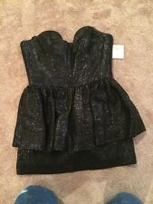 NWT Milly Black Bree Peplum Dress Style 140LS012156 Size 12 Extra Short, Formal