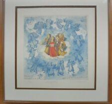 """DEBERDT FRANCOISE Litographie """" Angelots  """" 35/50 H 35.5 x L 34.5 cm sous verre"""