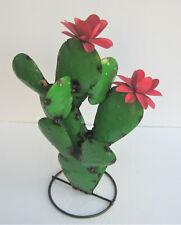"New listing Metal Yard Art Prickly Pear Cactus Sculpture 20"" Tall Green 3D"