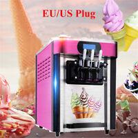 110V 3 Flavor Pink Commercial Frozen Soft Ice Cream Yogurt Cone Machine 20L/H