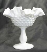Fenton Milk Glass Hobnail Ruffled Compote Candy Bowl / Dish