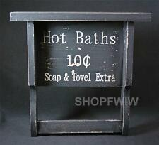 """Primitive Country Distressed Black Wooden Shelf  With Towel Bar -  """"Hot Baths"""""""