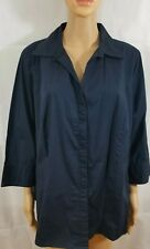 Riders Womens Navy Shirt Size 1X Button Down Blouse 3/4 Sleeve Cuff Slimming