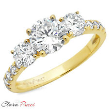 2.10 CT Three Stone with Accent Ring Engagement Wedding Band 14K Yellow Gold