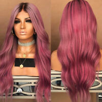 28'' Women Red Long Curly Hair Wig Synthetic Party Cosplay Costume + Wig Cap