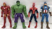 Marvel Action Figure Lot Hulk Iron Man Captain America Spider-Man 2016 Hasbro
