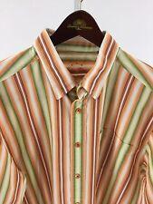 Indigo Palms Mens XL Orange, White  & Green Striped Long Sleeve B-88