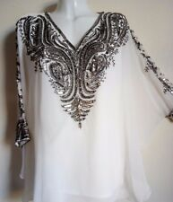 NEW SILVER SEQUIN BLOUSE PONCHO WHITE SHIRT WEDDING TOP TUNIC CAPE 20/22/24 SEXY