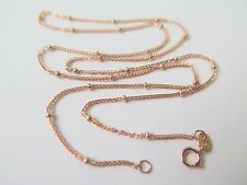Authentic 18k Solid Rose  Gold Bead Wheat Link Chain Necklace /2.36g /17.7''L