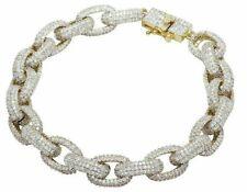 20Ct Round Cut Diamond Puff Link Men's Bracelet 14K White Gold Finish