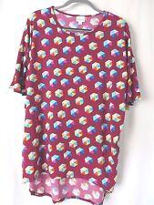 Lularoe Irma Shirt High Low Tunic Raspberry w Multi Color Hexagon Print M  #5455