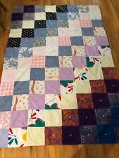 """Vintage PATCHWORK QUILT Throw Blanket 54x80"""" Squares Hand Tied"""