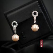 Boucles d`Oreilles Nacre Perle Culture Rond Rose Argent Massif 925 10mm-11mm L