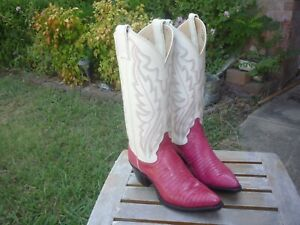 Women's 5 M B Justin Pink Lizard & Cream Leather Western Cowboy Boots P2143