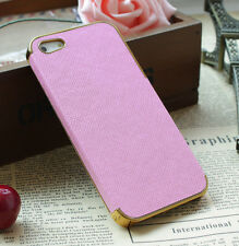 Frame Luxury Leather Chrome Hard Back Case Cover For iPhone 5 5S Pink Gold
