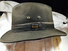 STETSON * MENS BLACK SAFARI HAT * L or XL * NEW WASHED CANVAS RAIN SHADY FEDORA
