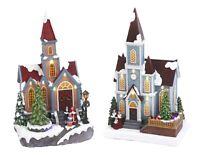 2-Pc Electric Lighted Musical Christmas Snow Village Church Moving Tree Scene
