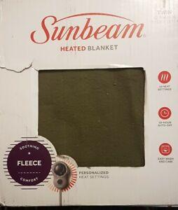 Sunbeam Channeled Velvet Plush Electric Heated Blanket Twin Green - NEW